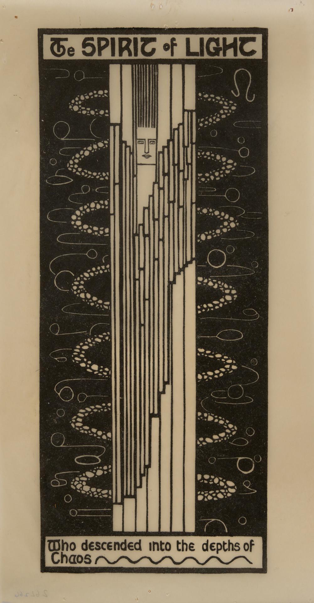 CHRISTIAN YANDELL WALLER (1894-1954) The Spirit of Light linocut on semi-transparent paper