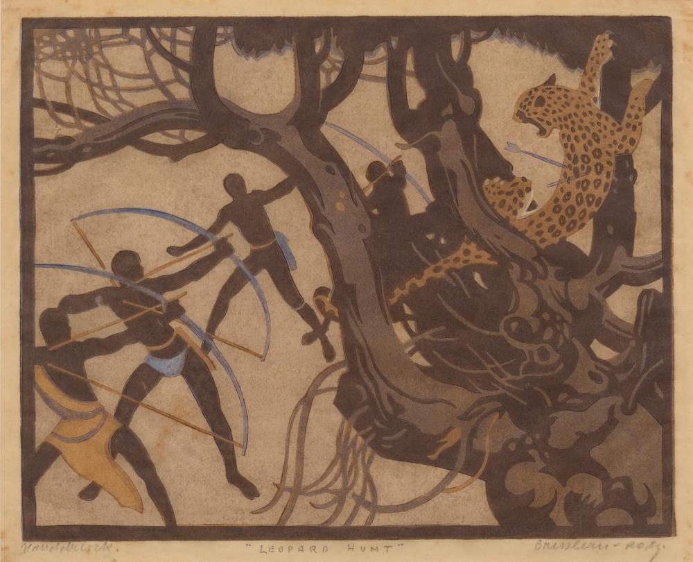 NORBERTINE VON BRESSLERN-ROTH (Austrian, 1891-1978) Leopard Hunt 1927 woodcut