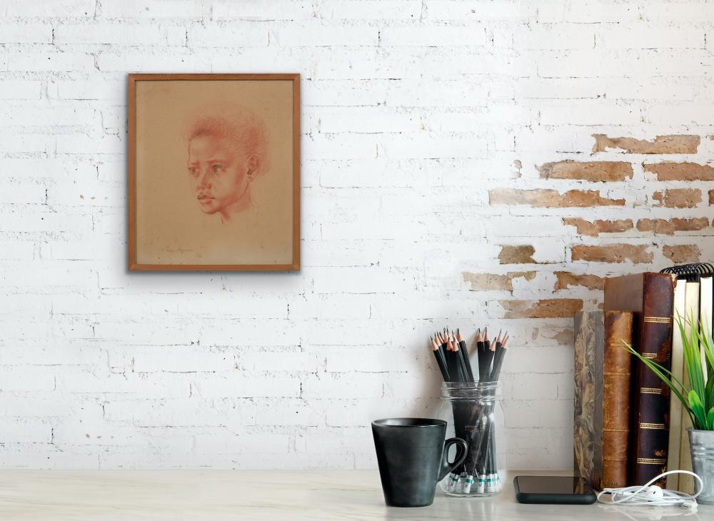 NORA HEYSEN (1911-2003) Portrait 1954 conte on paper