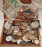A BOX OF ASSORTED CURRENCY TOGETHER AND FINDINGS.