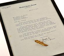 LETTER FROM ROBERT F.KENNEDY AND  GOLD PLATED TIE CLASP