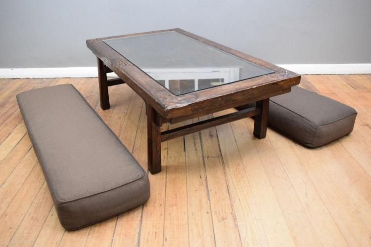 A 19th century ching dynasty elm coffee table with cushions for Coffee table 80cm x 80cm