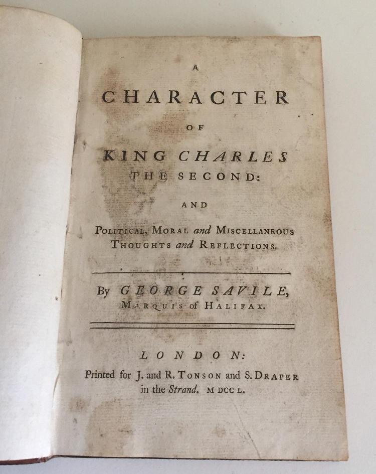 george savile essay king charles ii Parliamentarian victoryexecution of king charles i exile of charles ii establishment of the republican  the irish sea, and st george's  essay or topic home.