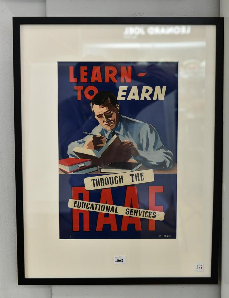 'LEARN TO EARN THROUGH THE RAAF' POSTER FOR EDUCATIONAL SERV
