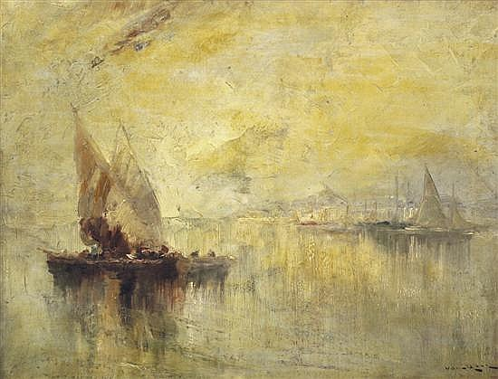 ATTRIBUTED TO JOACHIM VAN HIER (DUTCH 1835-1905) Smacks in Harbour oil on canvas