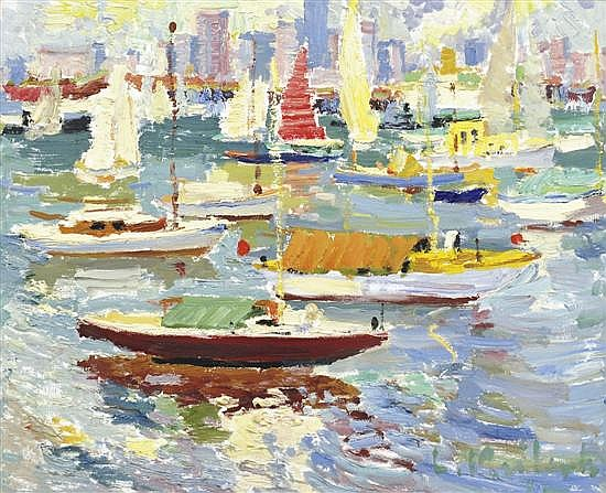 LUDMILLA MEILERTS (1908-1998) Yachts oil on board