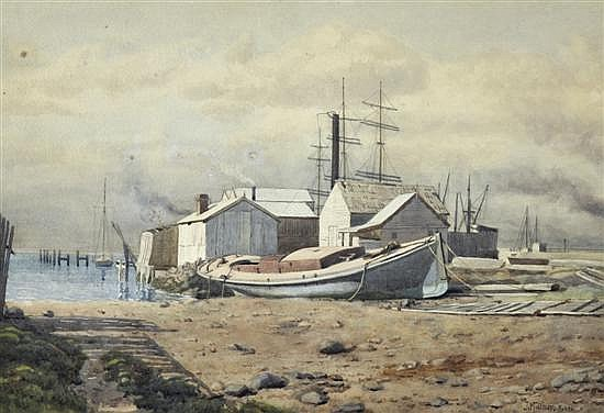 JOHN MATHER (1848-1916) Docked Boat (Possibly Williamstown) 1904 watercolour