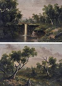 A.W. EUSTACE (1820-1907) A Pair of Colonial Landscapes 1888 oil on board (2)
