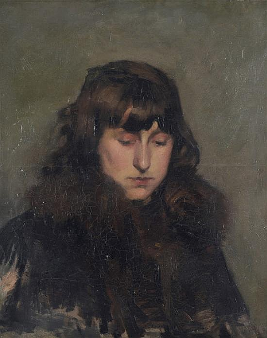 HUGH RAMSAY (1877-1906) Head of a Young Girl Looking Down Melbourne (late 1890s) oil on canvas