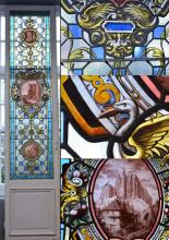 AN IMPRESSIVE PAIR OF RARE AND UNIQUE FRENCH 18TH CENTURY STAINED GLASS WINDOWS FROM THE MEDIEVAL CASTLE OF SEDAN - Nth East of Fran...