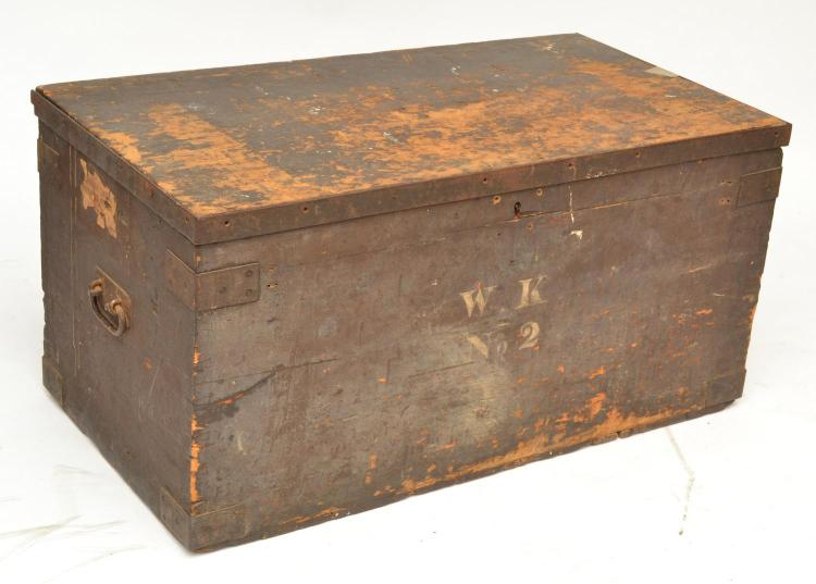 A VINTAGE PAINTED PINE CHEST WITH IRON FITTINGS