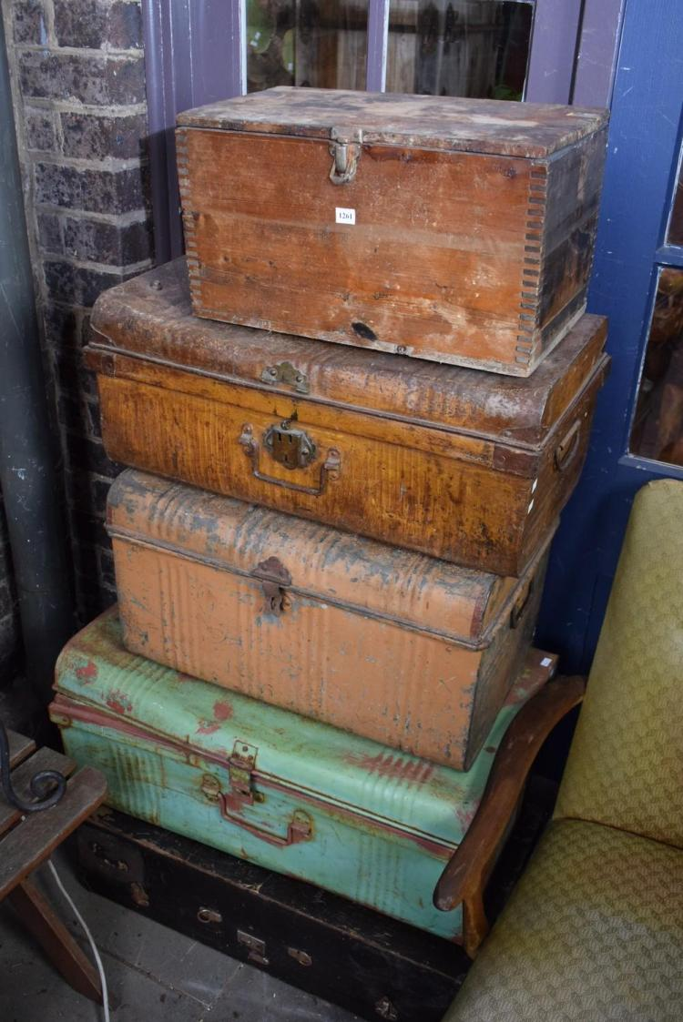 A COLLECTION OF FIVE VINTAGE TRUNKS AND TOOLBOXES