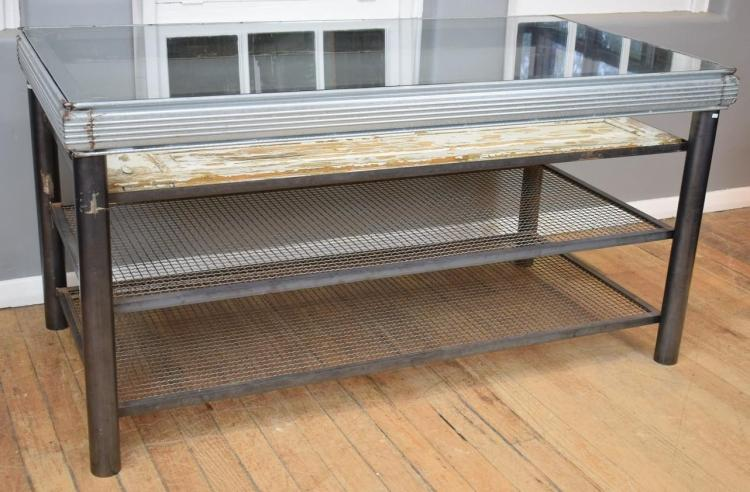 AN INDUSTRIAL ITALIAN GLASS TOP WORKSTATION (1m h x 1m l x 1.97m w)