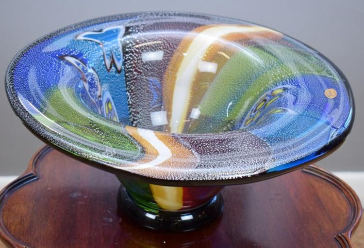 A RIKARO FANNED ART GLASS BOWL
