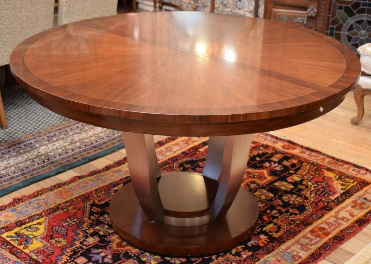 AN ART DECO STYLE WALT DISNEY DREXEL EXTENSION DINING TABLE (one additional leaf)