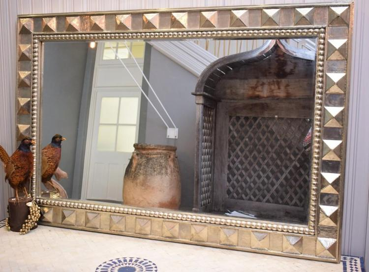 A CONTEMPORARY GEOMETRIC PATTERNED SILVER FRAMED MIRROR (200CML X 100CMH)
