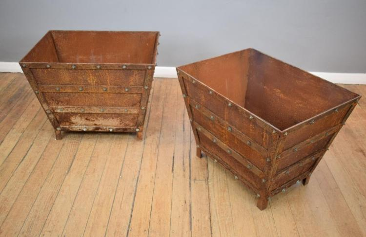 A PAIR OF IRON METAL BOUND PLANTERS - (80cm w x 60cm l x 60cm h)