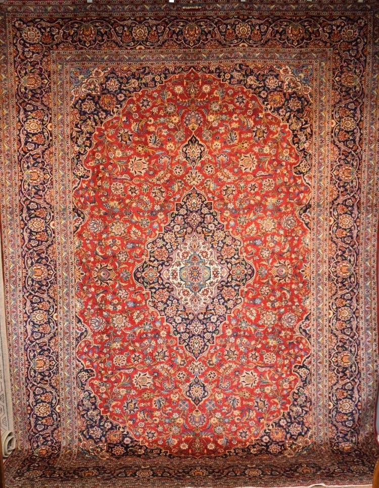 A SUPERFINE PERSIAN KASHAN - EXTREMELY HARDWEARING CARPET - VERY COLLECTABLE - ORIGIN - IRAN (370cm X 268cm) RRP $8500