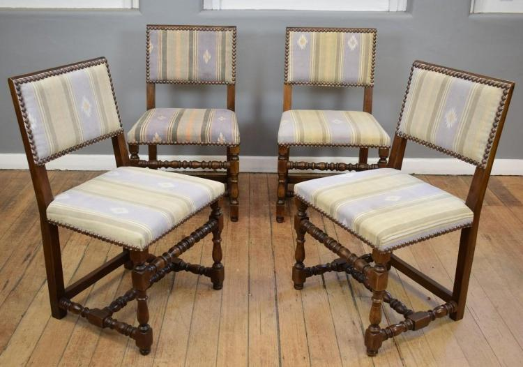 A SET OF EIGHT CHARLES II CHAIRS IN LIGHT COVERED DHURRIE (85cm h x 1.4m w x 50cm l)