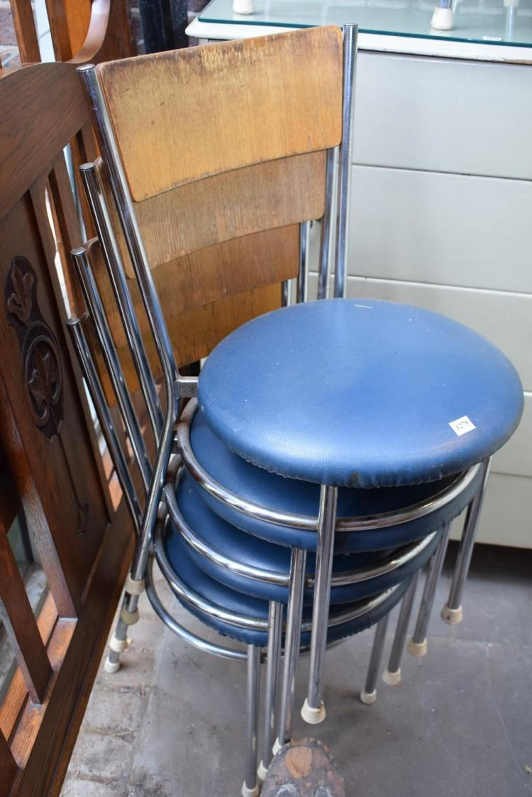 A SET OF TWELVE STACKING CHAIRS FROM SMOGIES SEAFOOD RESTURANT GEELONG