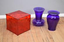 A PATRICK JOUIN OPTIC BOX STORAGE FOR KARTELL AND TWO PHILIPPE STARCK BOHEM STOOLS FOR KARTELL (crack to red box)