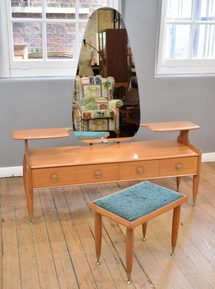 A MID-CENTURY BURGESS DRESSER AND FOOTSTOOL