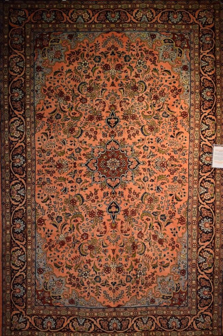 AN UNUSUAL PERSIAN MEHRABAN - VERY FINELY KNOTTED - RARE COLOURS - ORIGIN IRAN- NEW PIECE - 315 X 212 - WOOL PILE - RRP $7900
