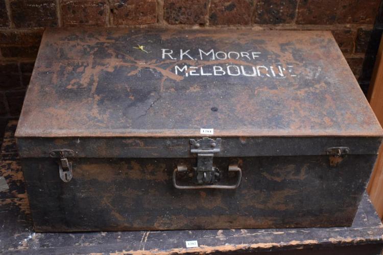 A VINTAGE R. K MEONE MELBOURNE TIN CASE