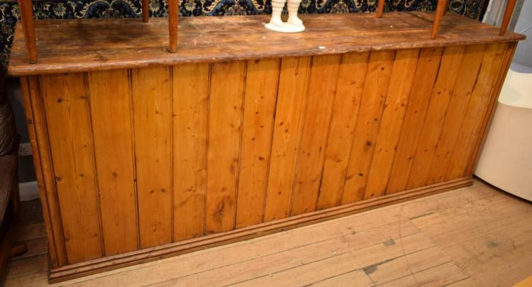 A BALTIC PINE SHOP COUNTER (2.4 M X 60 CMX 97 CM H)