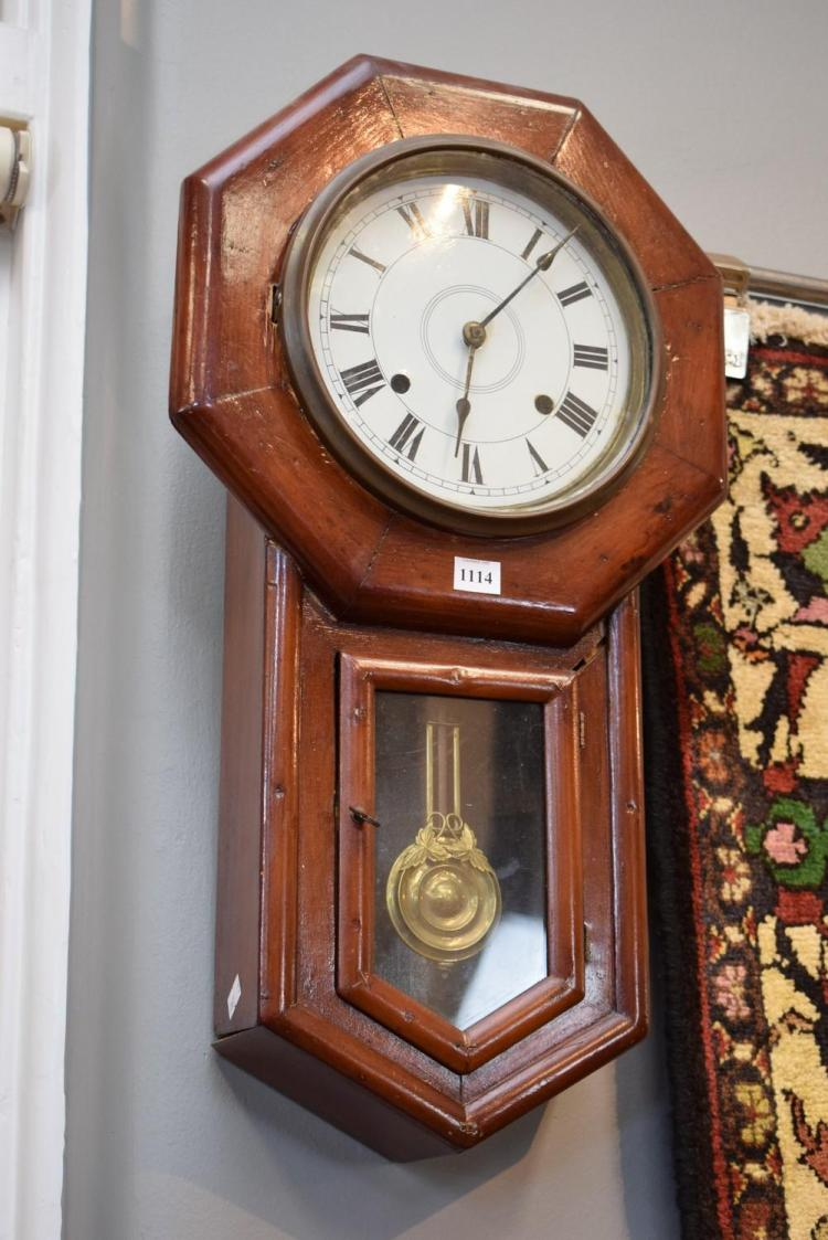 A 19TH CENTURY AMERICAN WALL CLOCK