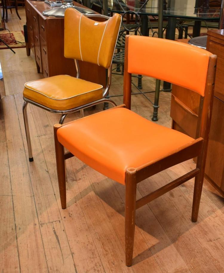 A SET OF FOUR 1960's ORANGE VINYL CHAIRS AND A SET OF THREE 1950's KITCHEN CHAIRS