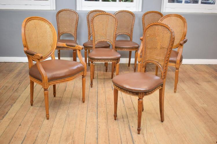 A SET OF EIGHT FRENCH PROVINCIAL STYLE DINING CHAIRS