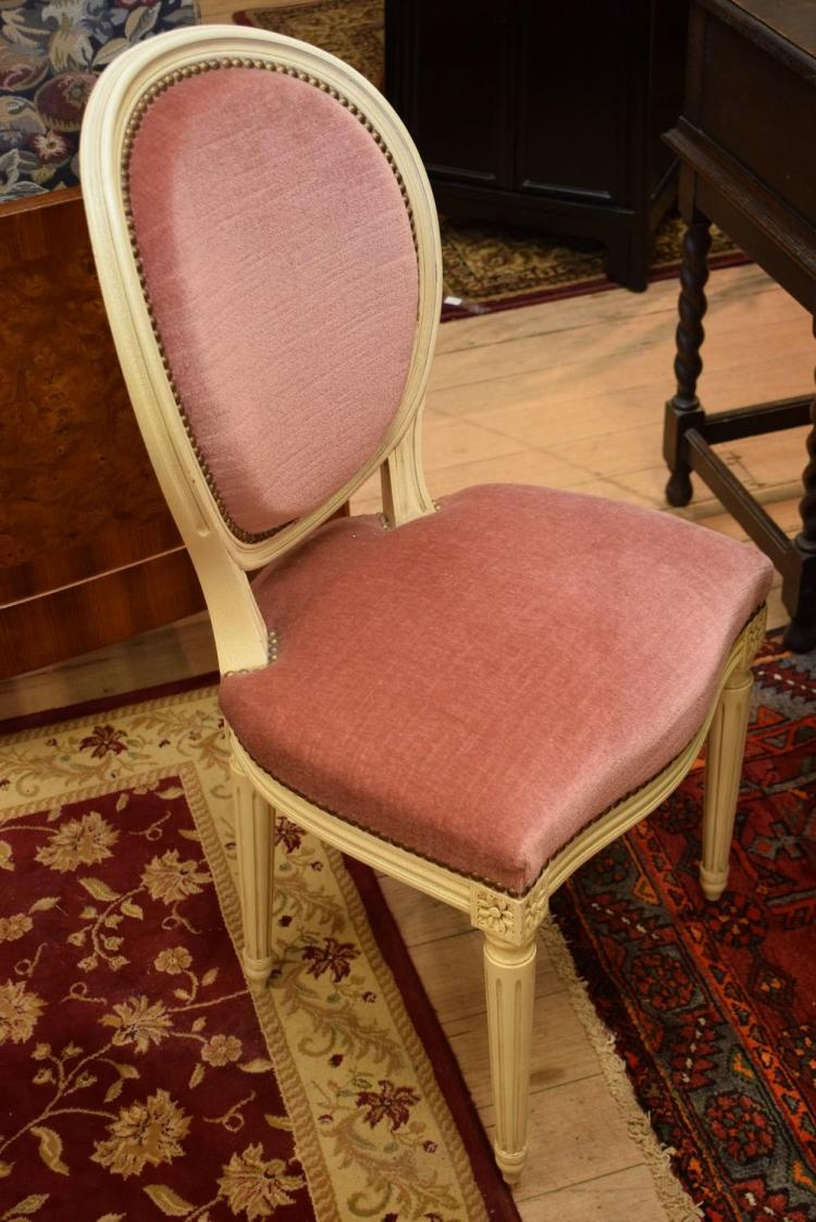 A SET OF FOUR LOUIS XVI STYLE PINK VELVET CHAIRS
