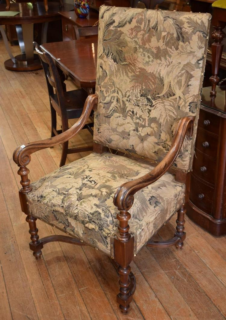 A 19TH CENTURY LOUIS XVI WALNUT TAPESTRY THRONE CHAIR