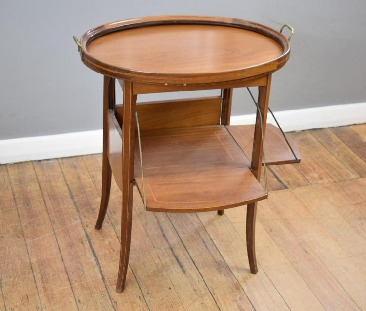 A 19TH CENTURY LOUIS XV MARQUETRY INLAID DROPSIDE OCCASIONAL TABLE