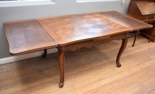 A FRENCH LOUIS XV STYLE PARQUETRY TOP OAK EXTENSION DINING TABLE (74cm h x 26cm w x 1m l)