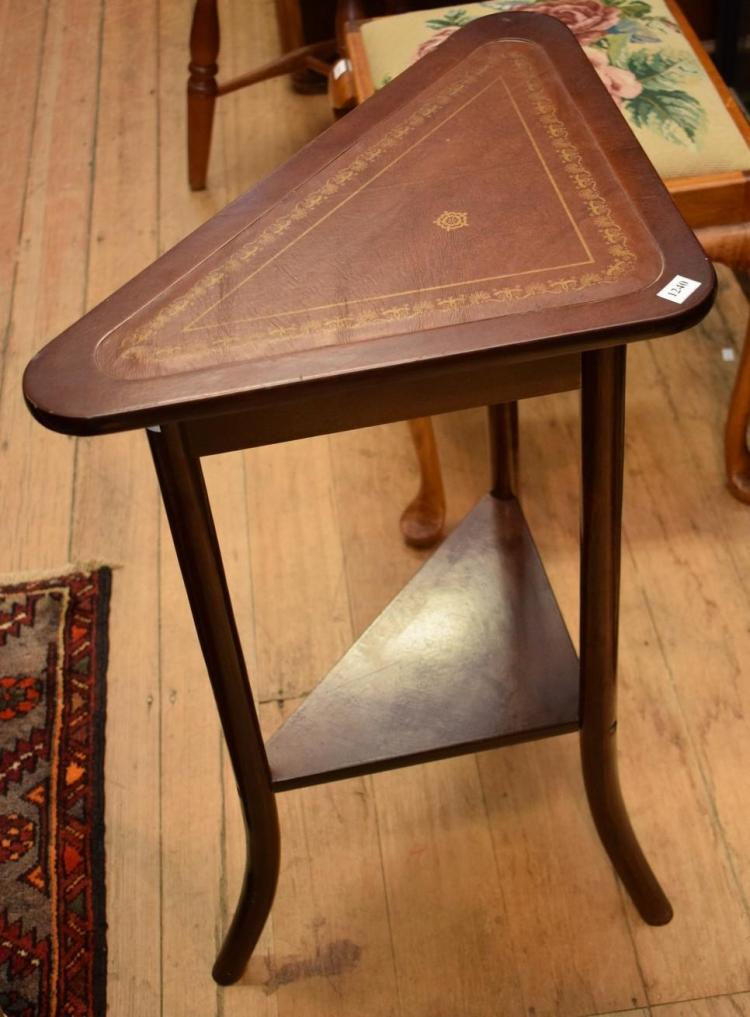 AN ANTIQUE STYLE OCTAGONAL TRIPOD SIDE TABLE AND A LEATHER INSET CORNER TABLE