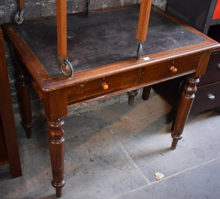 A VICTORIAN CEDAR LEATHER INSET DESK