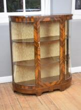 AN ART DECO 'E.H REIDY' GLAZED WALNUT VENEERED CRYSTAL CABINET