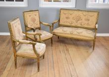 A 19TH CENTURY THREE PIECE LOUIS XVI STYLE THREE PIECE SUITE