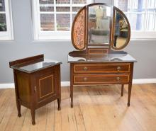A SHERATON REVIVAL INLAID TRIFOLD MIRROR BACK DRESSER AND MATCHING SIDE CABINET