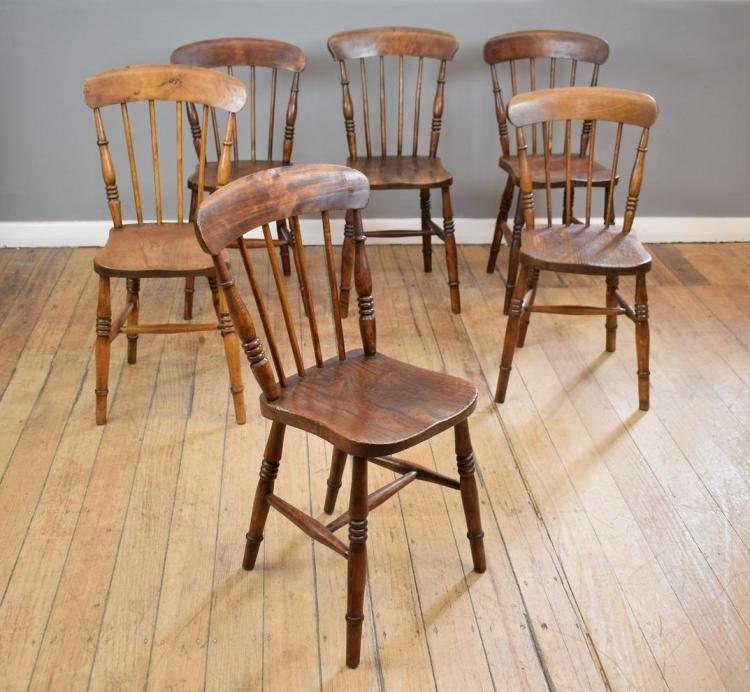 SIX 19TH CENTURY ELM KITCHEN CHAIRS