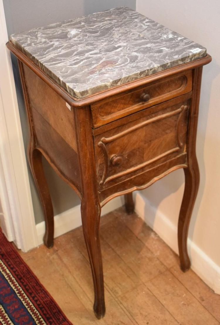A LOUIS XV STYLE MARBLE TOP BEDSIDE CABINET