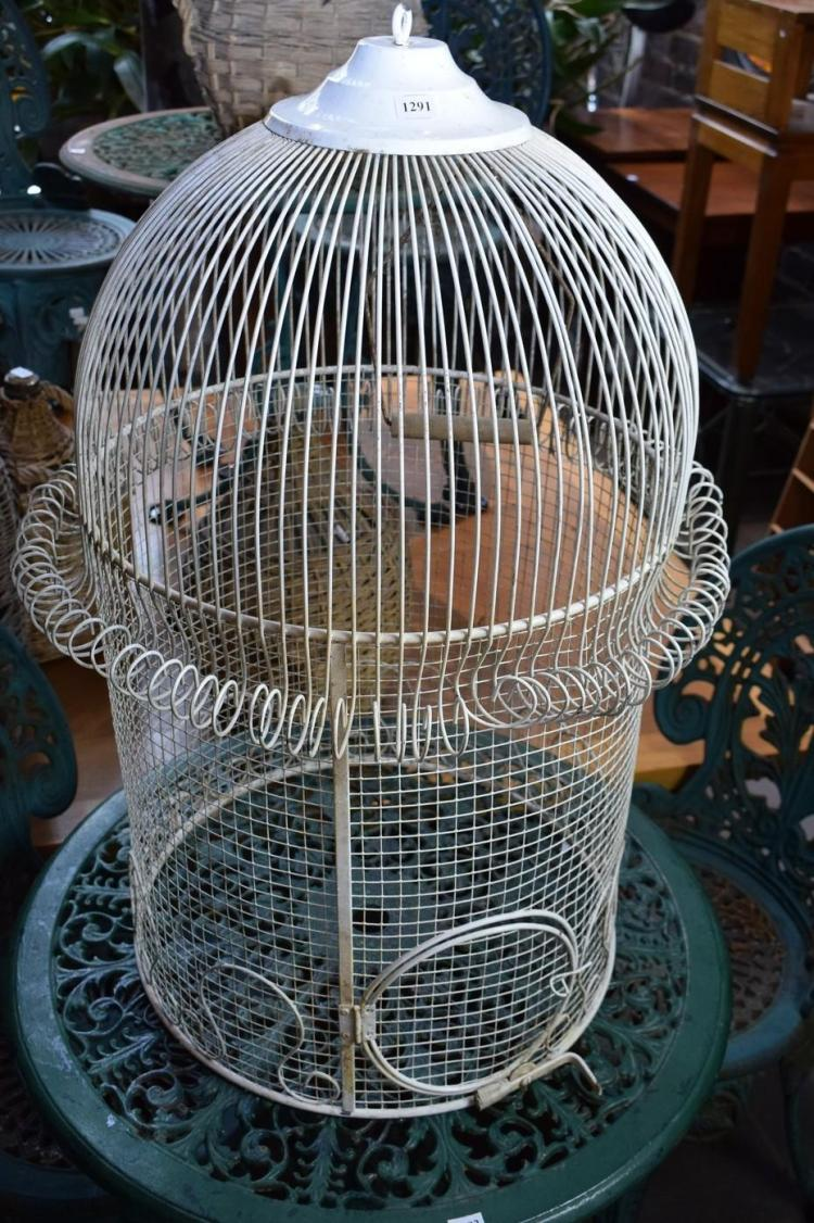 A METAL WHITE PAINTED BIRDCAGE