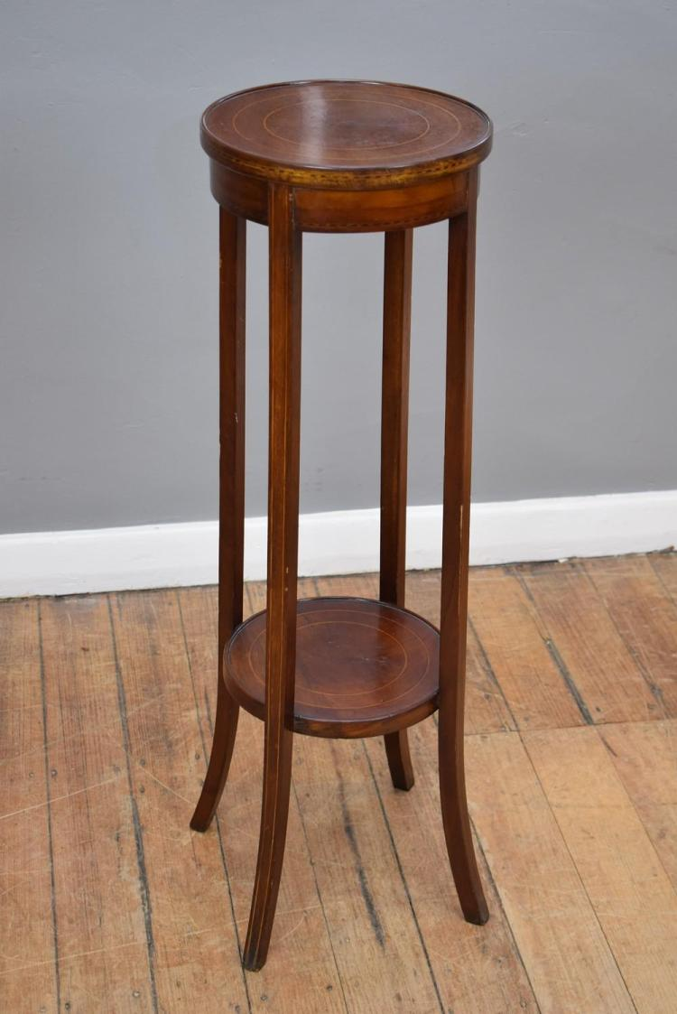 A GEORGIAN STYLE INLAID JARDENIERE STAND