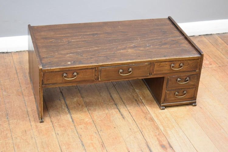 AN ORIENTAL ELM LOWLINE WRITING DESK