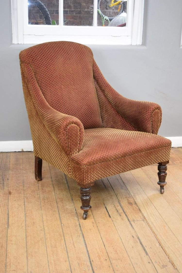 A 19TH CENTURY PATTERNED PILE CLUB CHAIR