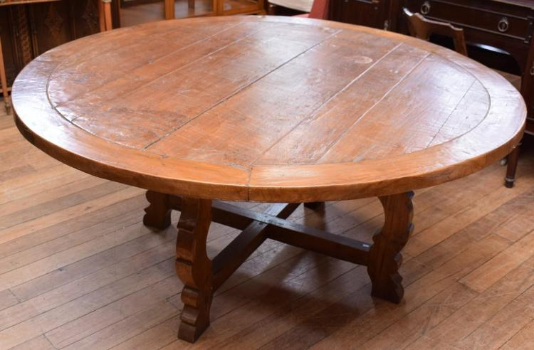 A SPANISH PROVINCIAL STYLE CIRCULAR DINING TABLE (80cm h x 1.8m l)