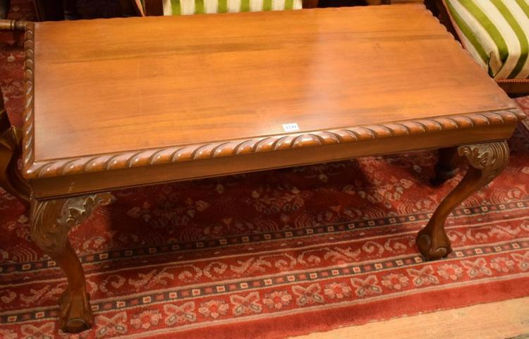 TWO CHIPPENDALE STYLE RECTANGULAR COFFEE TABLES