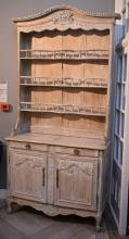 AN EARLY 20TH CENTURY FRENCH PROVINCIAL LIMED DRESSER (2.5m h x 1.25m w x 48cm l)